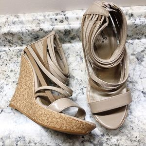 Qupid Strappy Cork Wedges Size 7